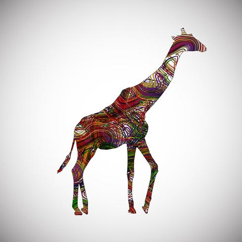 Colorful giraffe made by lines, vector illustration