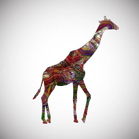 Girafa colorida feita por linhas, ilustração vetorial