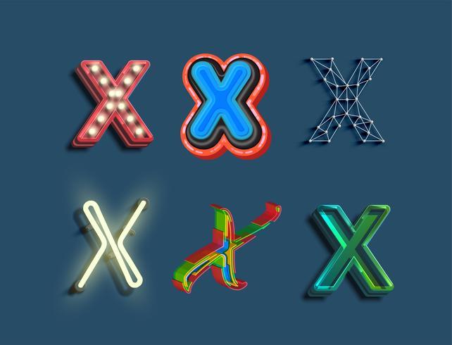 Un conjunto de caracteres de 6 fuentes de diferentes estilos, vector
