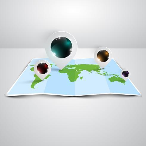 Mapa do mundo em 3D, vetor