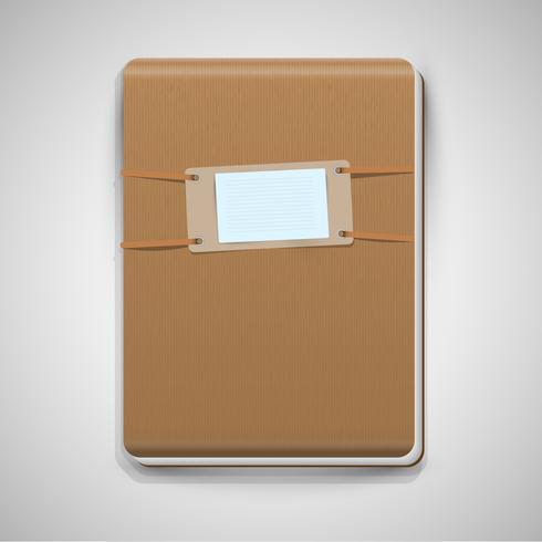 Cuaderno marrón realista, vector