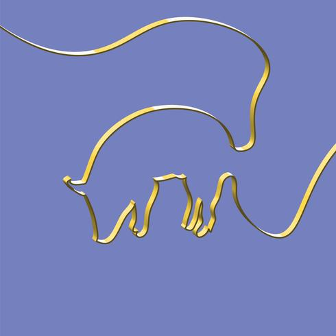 Realistic ribbon shapes an animal, vector illustration