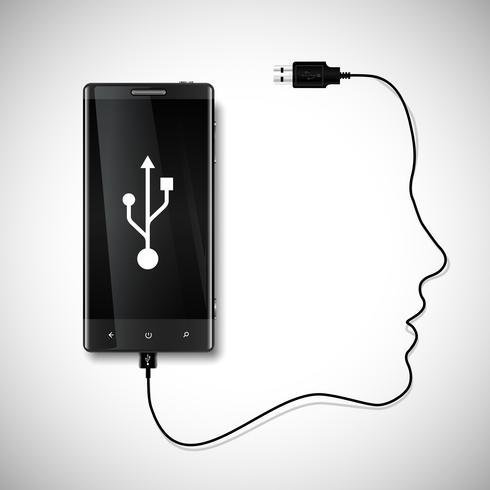 Mobile phone with a face  vector