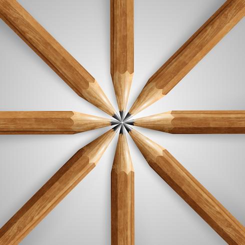 Lápis realista de madeira, vetor