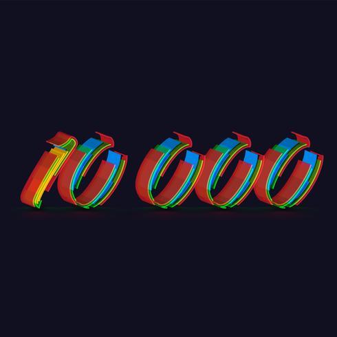 3D kleurrijk karakter van een fontset, vector