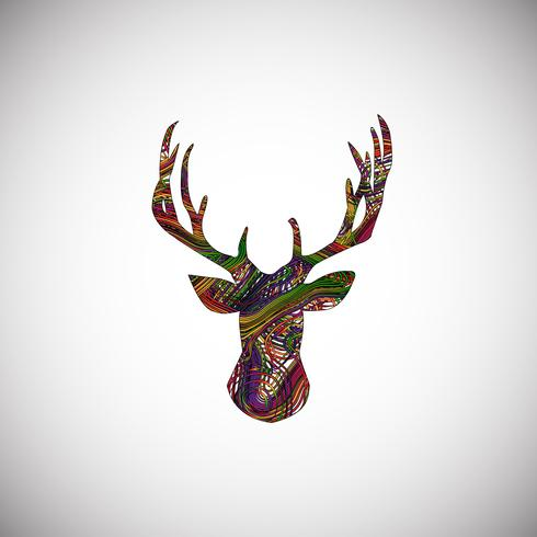 Ciervos coloridos hechos por líneas, ilustración vectorial