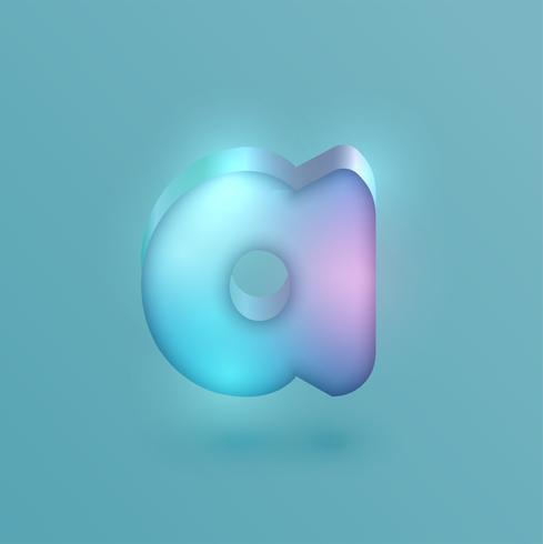 3D realistic neon character, vector