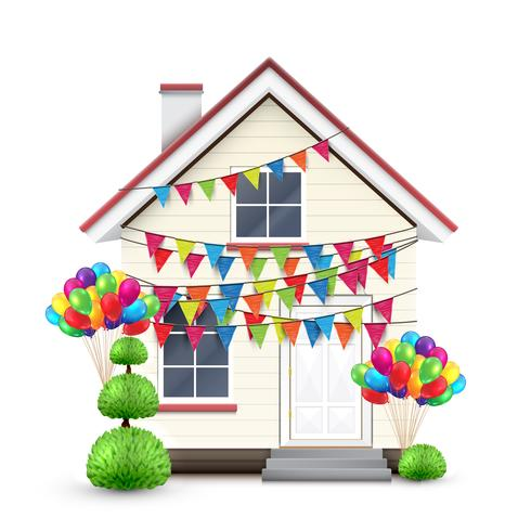 Realistic house with colorful flags and balloons, vector