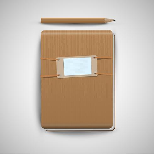 Um caderno e um lápis, vetor