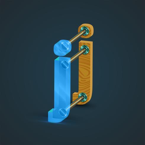 3D, cristal realista y carácter de madera, vector. vector