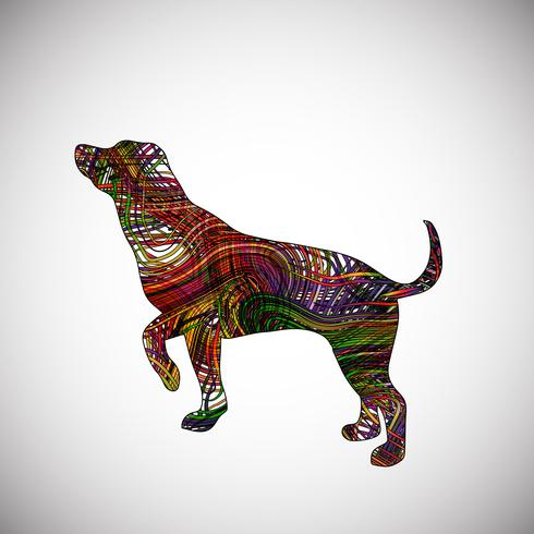 Colorful dog made by lines, vector illustration