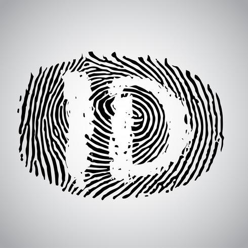 """Fingeravtryck illustration med """"ID"""", vektor"""