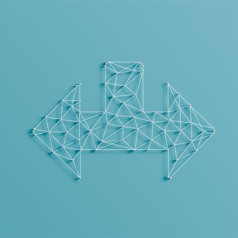 Una flecha hecha por líneas y pasadores, 3D realista, ilustración vectorial