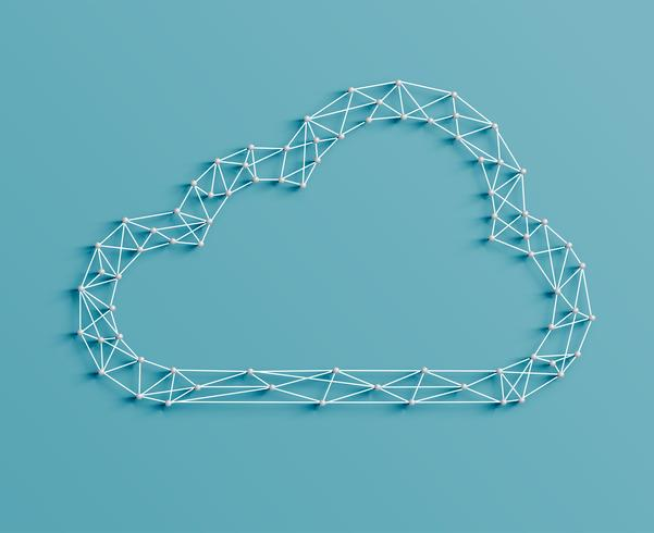 Illustrazione realistica di un'icona della nuvola fatta da perni e stringhe, vettore