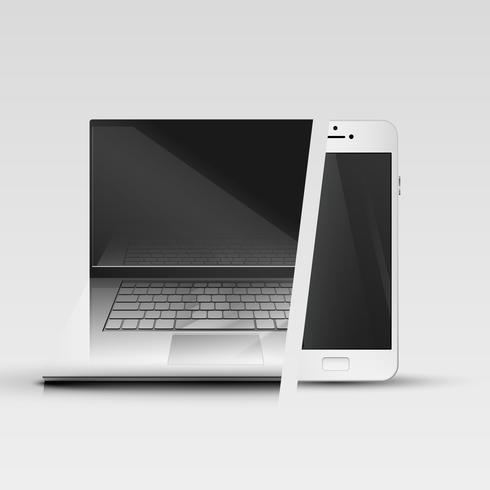 Realistische smartphone en computer, vectorillustratie