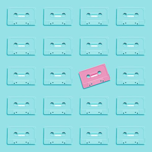 Pastel retro realistic cassette on flat background, vector illustration