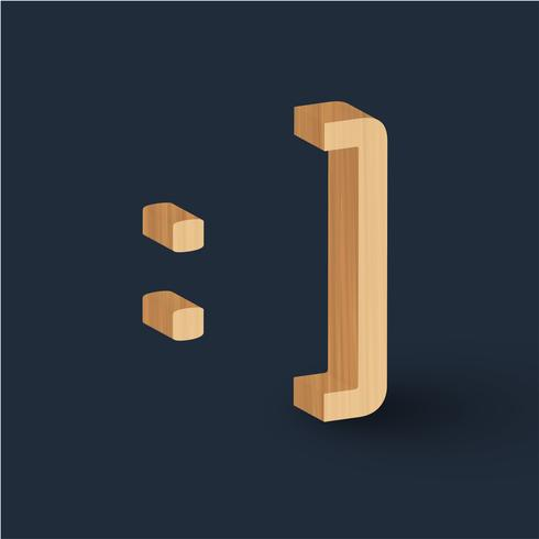Emoticon de carácter de fuente de madera 3D, vector