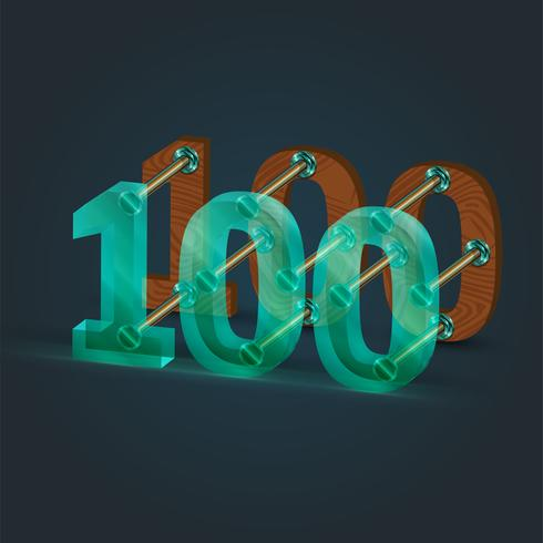 Zahl gebildet durch Glas und Holz, Vektor