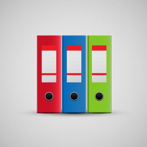 Icona realistica delle cartelle rosse, blu e verdi, vettore