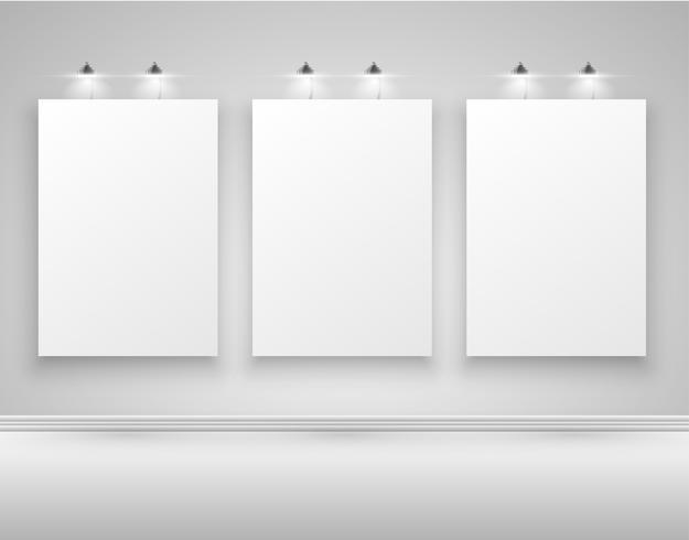 Carteles realistas con luces, ilustración vectorial