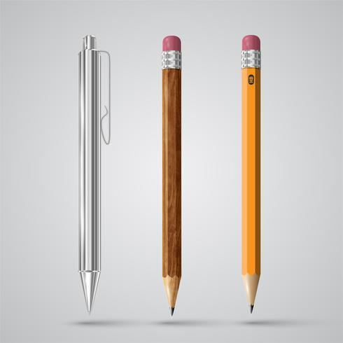 Caneta realista colorida e lápis, vetor