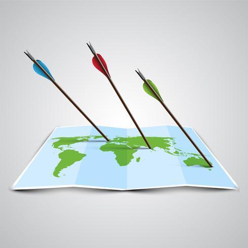 Mapa do mundo em 3D com setas, vetor