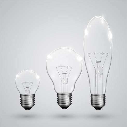 Tre tipi di lampadina, vettoriale