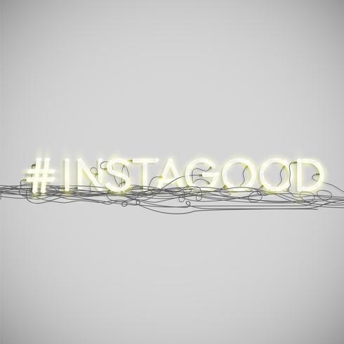 Realistiskt neon hashtag ord, vektor illustration