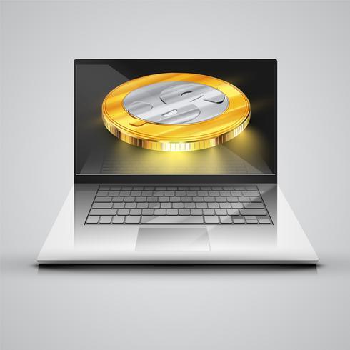 Cuaderno realista con monedas de dinero, ilustración vectorial