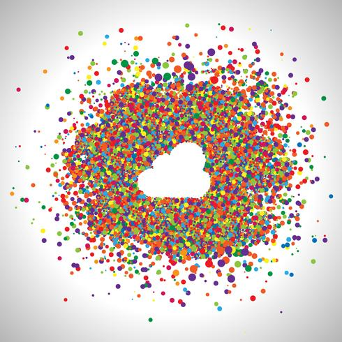 Cloud made by colorful dots, vector