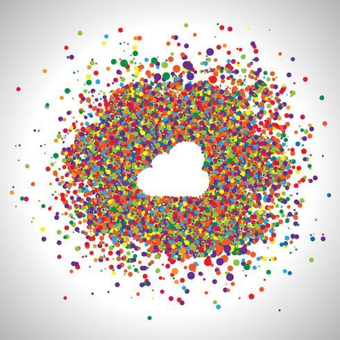 Nuage fait par points colorés, vecteur