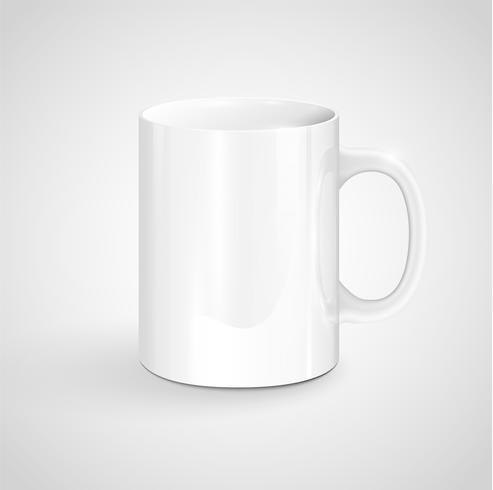 Realisctic white mug, vector