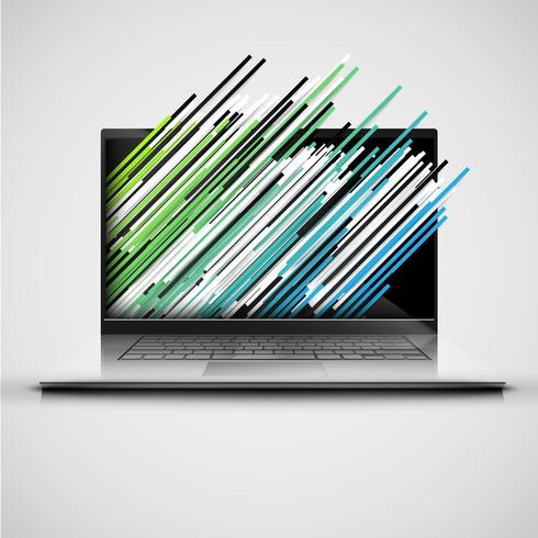 A computer with abstract and colorful lanes, vector