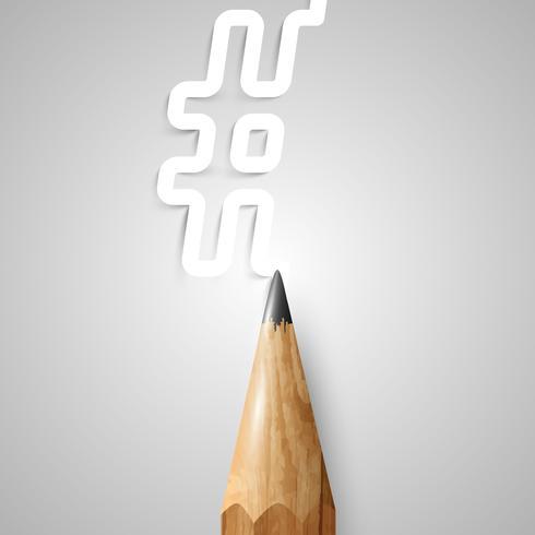 Crayon en bois marron, vecteur