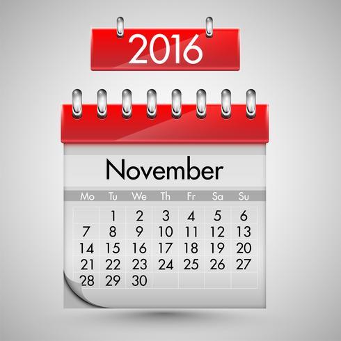 Calendario realista con tapa dura roja, ilustración vectorial
