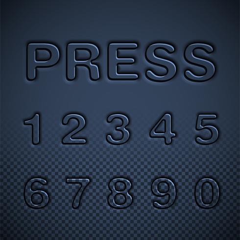 Pressed font set, vector illustration