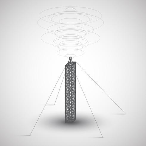 Radiotoren op grijze achtergrond, vector