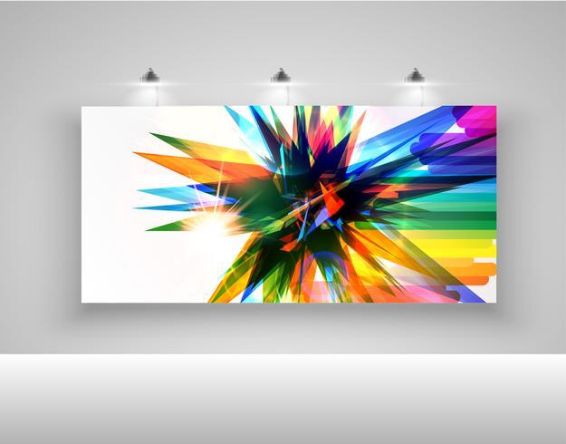 Tabellone per le affissioni realistico con le luci, illustrazione di vettore