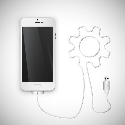 Realistischer Smartphone mit Draht, Vektorillustration