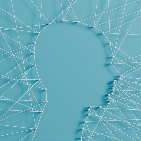 Ilustración realista de una cabeza hecha por alfileres y cuerdas, vector