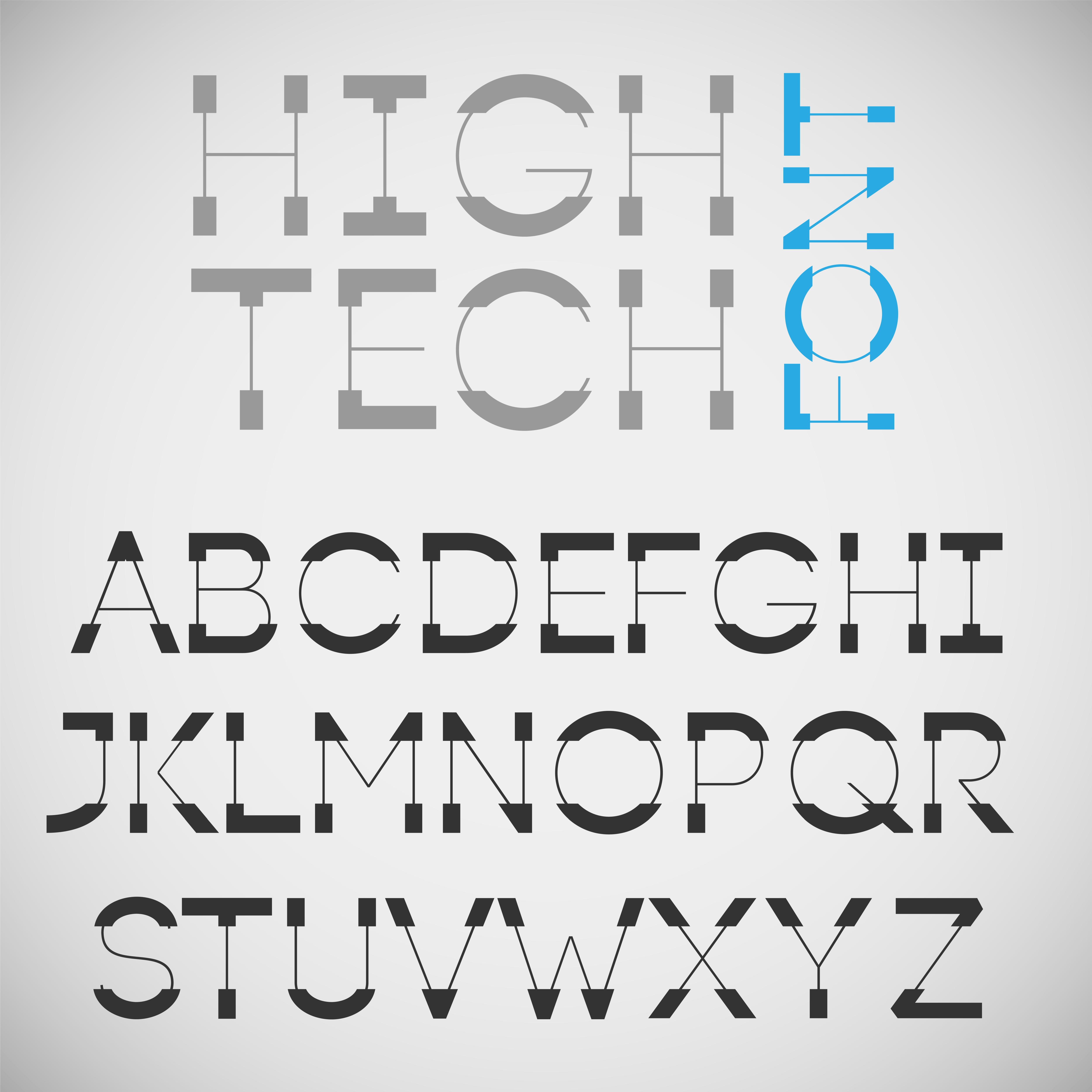 High Tech Font  Vector