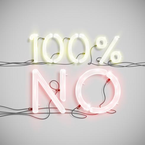 Carattere di parola realistica fatta da font al neon, illustrazione vettoriale