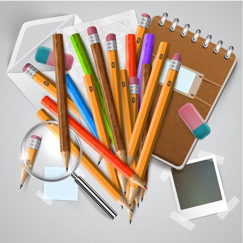 Material de escritório ou escola e itens em fundo branco, vetor
