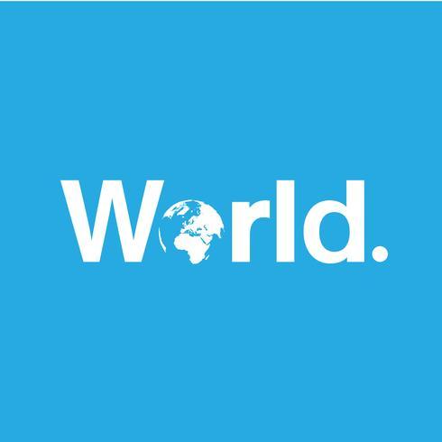 Parola di mondo con un globo replacineg 'o', vettore