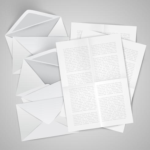Realistischer geöffneter Umschlag mit Papieren, Vektorillustration