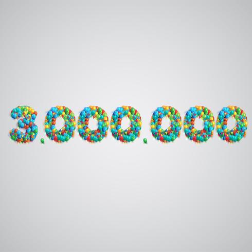 Numero fatto da palloncini colorati, vettoriale