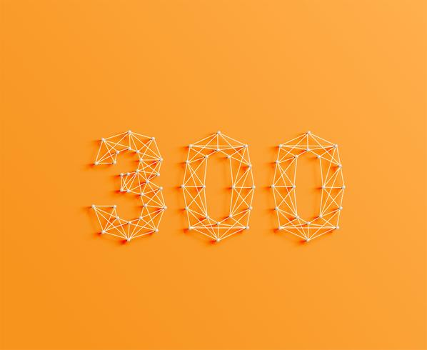Un número hecho por pines y líneas, 3D y realista, vector. vector