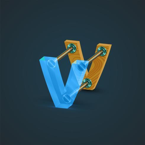 3D, realistischer Glas- und Holzcharakter, Vektor