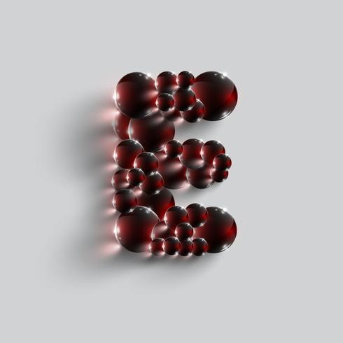 Een brief gemaakt door rode bollen, vector