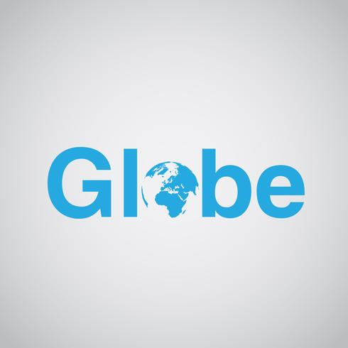 'Globe' tekst bevat aarde, vectorillustratie vector